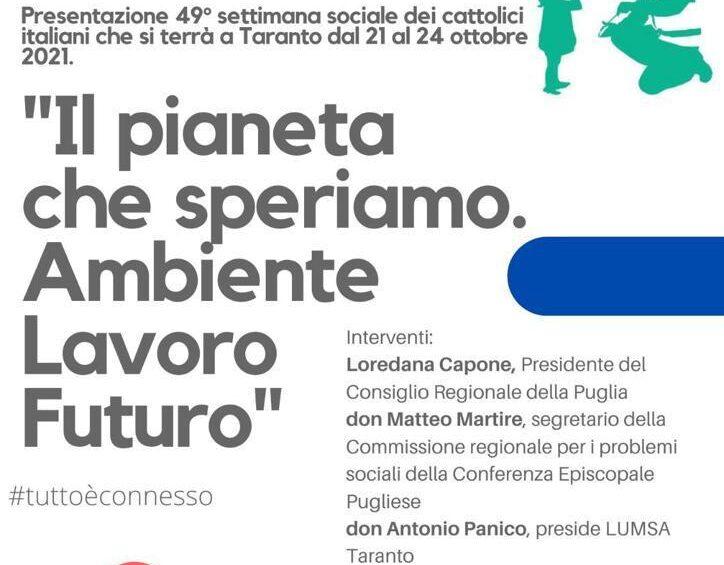Il 21 luglio la presentazione della Settimana Sociale al Consiglio Regionale della Puglia