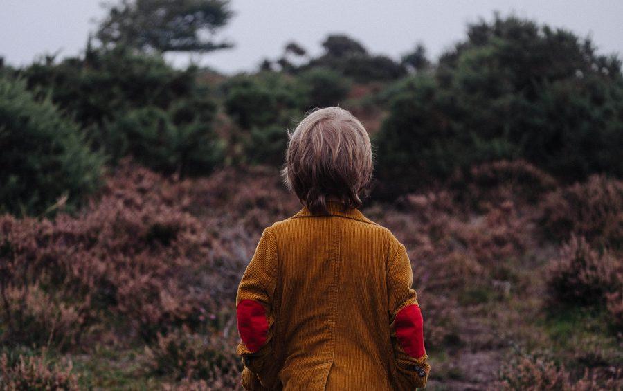 Un bambino solo nella natura